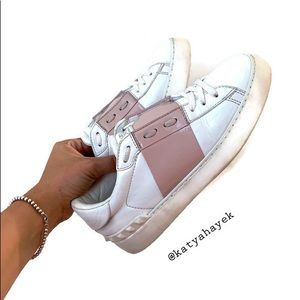 Valentino Rockstud Accents Leather Sneakers 36.5